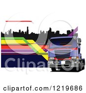 Clipart Of A Big Rig Truck Over A City 3 Royalty Free Vector Illustration