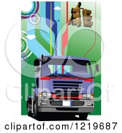 Clipart Of A Big Rig Truck With Traffic Lights 2 Royalty Free Vector Illustration