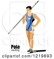 Clipart Of A Pole Vaulter With Text Royalty Free Vector Illustration