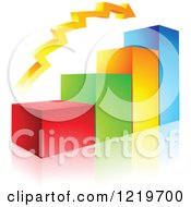 Clipart Of A 3d Colorful Bar Graph And Arrow Royalty Free Vector Illustration