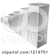Clipart Of A 3d Silver Bar Graph Royalty Free Vector Illustration by cidepix