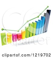 3d Colorful Bar Graph And Marked Areas