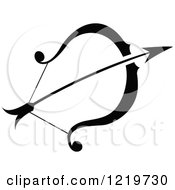 Clipart Of A Black And White Astrology Sagittarius Bow And Arrow Zodiac Star Sign Royalty Free Vector Illustration by cidepix