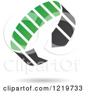 Clipart Of A Floating Green And Black Circle Arrow Icon Royalty Free Vector Illustration