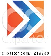 Clipart Of A Floating Blue And Orange Arrow Icon Royalty Free Vector Illustration