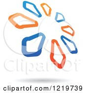 Clipart Of A Floating Blue And Orange Arrow Circle Icon 2 Royalty Free Vector Illustration