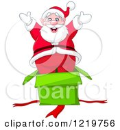 Clipart Of Santa Claus Popping Out Of A Surprise Gift Box Royalty Free Vector Illustration by yayayoyo