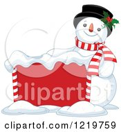 Clipart Of A Happy Christmas Snowman By A Sign Royalty Free Vector Illustration