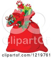 Clipart Of A Red Santas Sack Full Of Christmas Presents Royalty Free Vector Illustration