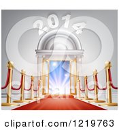 Clipart Of A Red Carpet Leading To A New Year Doorway Royalty Free Vector Illustration