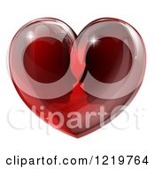Clipart Of A Silhouetted Couple About To Kiss In A Reflective Red Heart Royalty Free Vector Illustration
