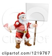 Santa Holding A Plunger And A Sign