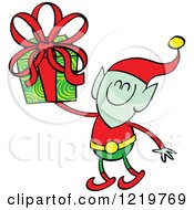 Clipart Of A Christmas Elf Holding Up A Gift Royalty Free Vector Illustration by Zooco