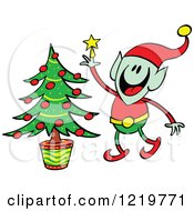 Clipart Of A Christmas Elf Decorating A Christmas Tree Royalty Free Vector Illustration by Zooco