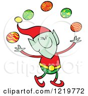 Clipart Of A Christmas Elf Juggling Baubles Royalty Free Vector Illustration