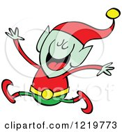Clipart Of A Christmas Elf Jumping Royalty Free Vector Illustration by Zooco