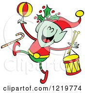Clipart Of A Christmas Elf With Toys Royalty Free Vector Illustration by Zooco