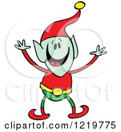 Clipart Of A Christmas Elf Welcoming Royalty Free Vector Illustration by Zooco