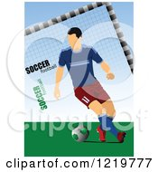 Clipart Of A Soccer Player With Text Royalty Free Vector Illustration
