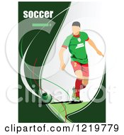 Clipart Of A Soccer Player With Text 3 Royalty Free Vector Illustration