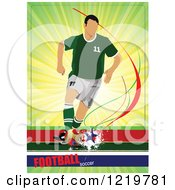 Clipart Of A Soccer Player With Text 5 Royalty Free Vector Illustration