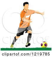 Clipart Of A Soccer Player 4 Royalty Free Vector Illustration