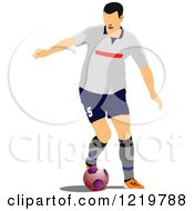 Clipart Of A Soccer Player Royalty Free Vector Illustration