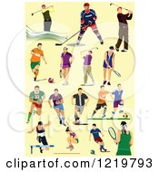 Clipart Of Athletes On Yellow Royalty Free Vector Illustration by leonid