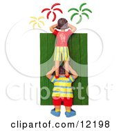 Clay Sculpture Clipart Woman Standing On A Mans Shoulders To View Fourth Of July Fireworks Royalty Free 3d Illustration
