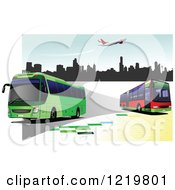Clipart Of City Buses 2 Royalty Free Vector Illustration
