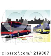 Clipart Of City Buses Royalty Free Vector Illustration