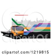 Clipart Of A Big Rig Truck Over A City Royalty Free Vector Illustration