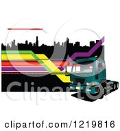Clipart Of A Big Rig Truck Over A City 2 Royalty Free Vector Illustration