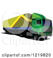 Clipart Of A Big Rig Truck 4 Royalty Free Vector Illustration