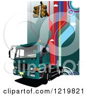 Clipart Of A Big Rig Truck With Traffic Lights Royalty Free Vector Illustration