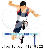 Clipart Of A Runner Leaping A Hurdle Royalty Free Vector Illustration by leonid