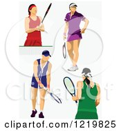 Clipart Of Female Tennis Players Royalty Free Vector Illustration