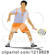 Clipart Of A Male Tennis Player 2 Royalty Free Vector Illustration