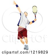 Clipart Of A Male Tennis Player 3 Royalty Free Vector Illustration