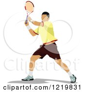 Clipart Of A Male Tennis Player 4 Royalty Free Vector Illustration