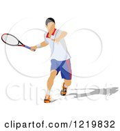 Clipart Of A Male Tennis Player 5 Royalty Free Vector Illustration