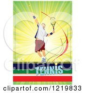 Clipart Of A Male Tennis Player With Text 2 Royalty Free Vector Illustration
