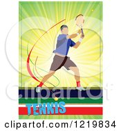 Clipart Of A Male Tennis Player With Text 3 Royalty Free Vector Illustration