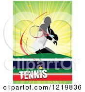 Clipart Of A Female Tennis Player With Text 4 Royalty Free Vector Illustration