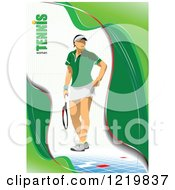 Clipart Of A Female Tennis Player With Text 3 Royalty Free Vector Illustration