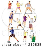 Clipart Of Male And Female Tennis Players Royalty Free Vector Illustration