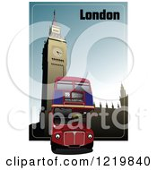 Clipart Of A Double Decker Bus In London Royalty Free Vector Illustration