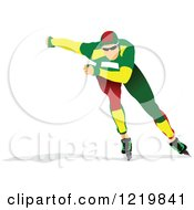 Clipart Of A Speed Skater Royalty Free Vector Illustration by leonid