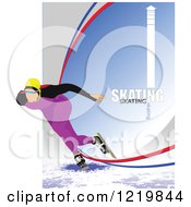 Clipart Of A Speed Skater With Text Royalty Free Vector Illustration by leonid