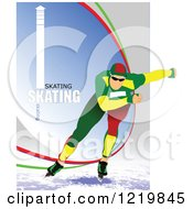 Clipart Of A Speed Skater With Text 2 Royalty Free Vector Illustration by leonid